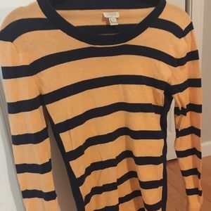 J Crew tangerine and blue stripes long sleeve